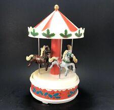 Vintage Christmas Carousel Merry Go Round Music Box Yaps Plastic Horses —Works