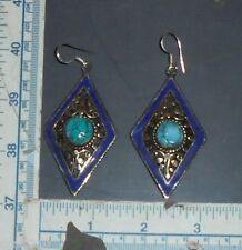 Handmade Tibetan Silver Turquoise & Lapis Earrings
