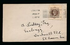 GB QV STATIONERY CARD CUT OUT USED on ENVELOPE 1908 LONDON MACHINE POSTMARK