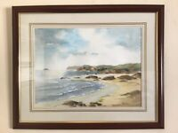 Vintage original signed framed Watercolour painting Harlan Bay North