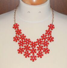 Red Flower & Rhinestone & Bright Goldtone Statement Necklace - NEW