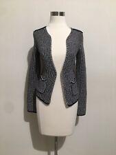 H&M Black White Tweed Silver Chain Trim Asymmetrical Hem Knit Jacket Sz XS