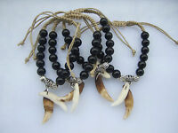 Tibetan Real Wolf Tooth Teeth Black Glass Beads Braided Bracelet For Mens Womens