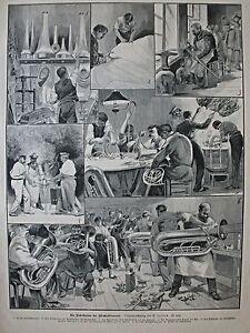 Fabrikation der Blechinstrumente - 6 Darstellungen - Schöner Stich um1885