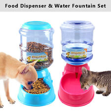 Automatic Cat Dog Water Fountain+Food Feeder Dispenser Set for Small Large Dogs