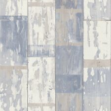 Paste the Wall Textured Aged Distressed Painted Blue Wood Panel Wallpaper 587128