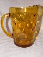 "Vtg 8"" tall Gold Amber Glass Hazel Atlas Pitcher round circles thumbprint Heavy"