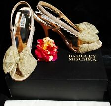 BN Badgley Mischka Bryant Nude Lace Bow Sandals  9.5US