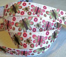 Ribbon braid coarse - 22 mm per metre-butterflies nature-couture leisure
