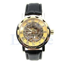 Mens Classic Black Leather Gold Dial Skeleton Mechanical Army Sport Wrist Watch