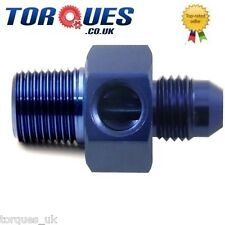 """AN -3 (AN3 3AN) To 1/8"""" NPT With a 1/8"""" NPT Side Port Oil Pressure Gauge Adapter"""