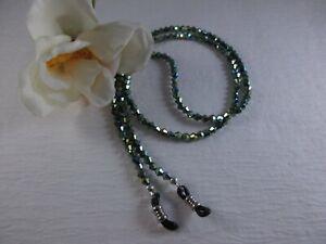 """Metallic RAIN FOREST Green 27"""" Czech Crystal Beaded Eyeglass Chain~Holder  USA"""