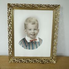 Vtg 50s Americana Photo Young Blonde Boy Bow Tie Color Hand Tinted Brass Frame