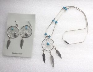 STERLING SILVER DREAM CATCHER EARRINGS WITH TURQUOISE & BEAR, PLUS NECKLACE