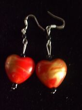 MURANO GLASS EARRINGS RED/GOLD SWIRL HEARTS