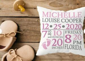 Birth Announcement Pillow **Personalized**  Ships 1-2 days after Order Placed
