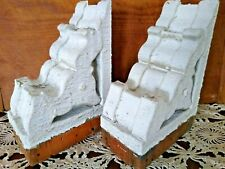 "PAIR ANTIQUE CHIPPY WHITE CORBELS SHELF BRACKETS 7 1/2"" TALL"
