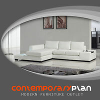 Contemporary Compact White L Shaped Leather Sectional Sofa w Light Modern Design