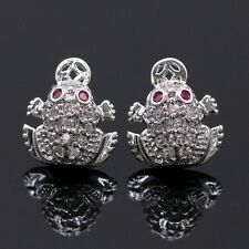Chic Purple Eyes Lucky Frog Stud Earrings 18K White Gold Plated CZ Earrings