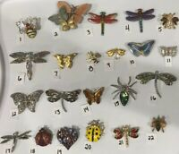 PICK A BROOCH PIN- VINTAGE -NOW BUG BUTTERFLY DRAGONFLY MOTH SPIDER ETC  BN17