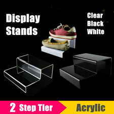 2-Tier Acrylic Step Display Riser Stand Shoes Jewelry Retail Counter