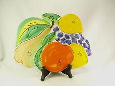 La Musa Italian Art Pottery Trivet Wall Hanging Fruit Orange Yellow Green Purple