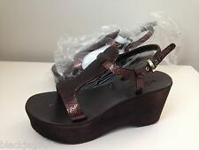CESARE PACIOTTI BROWN SEQUIN WEDGE SANDALS - NEW SIZE US 5.5 M