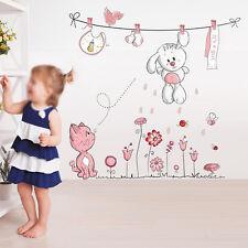 Cartoon Cat Rabbit Flower Wall Sticker for Baby Girls Kids Rooms Home Decor S2h8