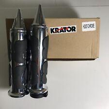 """Krator HG007 (Chrome Billet Hand Grips Black Flame Set Stilleto End Fits 1"""""""