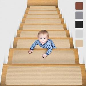 "8"" X 30"" 15 in Pack Non-Slip Carpet Stair Treads Non-Skid Safety Rug (Beige)"