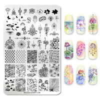 NICOLE DIARY Rectangle Nagel Schablone Lotus Leaf Image Stamp Templates L08
