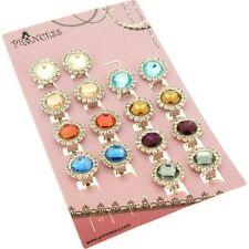 Glass Rhinestone Bead w Crystal Wrapped Flower Clip-On Earrings for Girls Womens