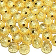 MB574p Gold Stardust Textured 10mm Round Brass Metal Spacer Beads 25/pkg