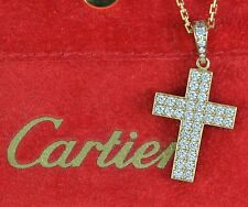 $17,200 Cartier 18K Yellow Gold Pave 1.75ct Diamond Large Cross Pendant Necklace