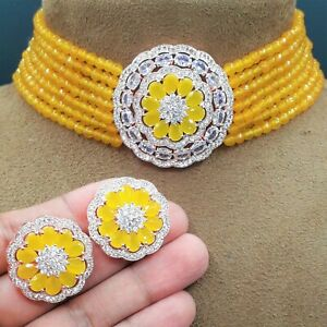 AD CZ Indian Bollywood Wedding Gold Plated Yellow Choker Necklace Jewelry Sets