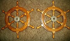 "Lot of 2 Wood Captains Ship Wheels Nautical Wall Decor 12 1/4"" Diameter"