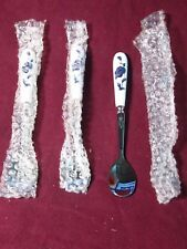 Stainless SET OF 3 SPOONS WITH WHITE PORCELAIN HANDLE BLUE FLOWERS Soup? Sugar?