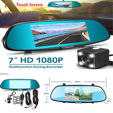 7'' 1080P Dual Lens Auto Car Dash Cam DVR Rearview Mirror Video Camera Recorder