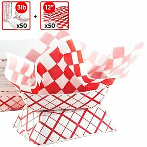 [50] Heavy-Duty Paper Food Baskets & [50] Red Patty Paper Liners by Avant Grub