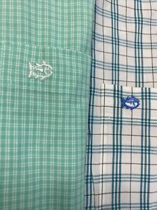 LOT OF 2 SOUTHERN TIDE CLASSIC FIT L/S BUTTON FRONT CASUAL LOGO SHIRTS MEN'S XL