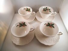 Vintage Canonsburg Pottery Adam Antique Set of 4 Holly Christmas Cups & Saucers