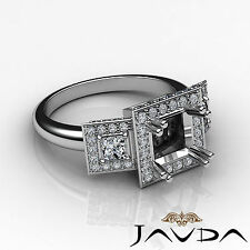 3 Stone Diamond Anniversary Round Princess Ring 14k White Gold Semi Mount 2.15Ct