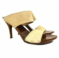 Rene Caovilla Ivory Pony Hair and Wood Platform Open Toe Mules Size 40