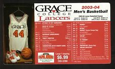 Grace Lancers--2003-04 Basketball Magnet Schedule
