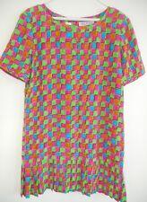 BILL BLASS Dress Size 10 GoGo Silk Bead Pink Green Gold Pleated Vintage 70s Mini