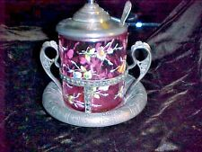 Pickle Castor Mary Gregory Style. Cranberry Glass,.Silver Plate Frame