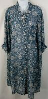 Catherine's Blue Floral Dress plus size 3X 26/28W Semi Sheer Roll tab Sleeve