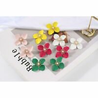New Holiday Pearl Painting Big Flowers Ear Earrings Stud Women Wedding Jewelry