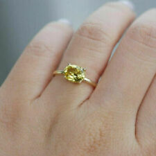 Natural Yellow Sapphire Ring, 14K Solid Yellow Gold, Unheated Untreated