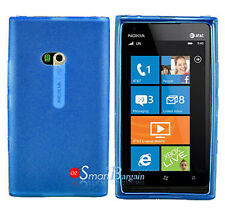 New BLUE Soft Gel TPU Cover Case For NOKIA Lumia 900 + Screen Protector